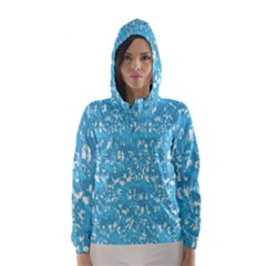 Glossy Abstract Ocean Hooded Wind Breaker (Women)