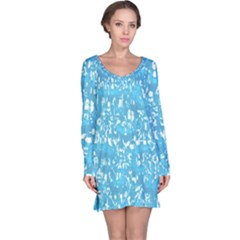 Glossy Abstract Ocean Long Sleeve Nightdress