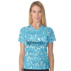 Glossy Abstract Ocean Women s V-Neck Sport Mesh Tee