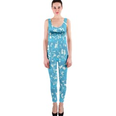 Glossy Abstract Ocean OnePiece Catsuit