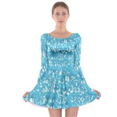 Glossy Abstract Ocean Long Sleeve Skater Dress