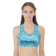Glossy Abstract Ocean Sports Bra with Border