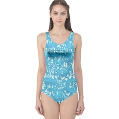 Glossy Abstract Ocean One Piece Swimsuit