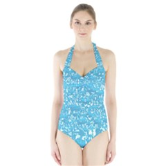 Glossy Abstract Ocean Halter Swimsuit