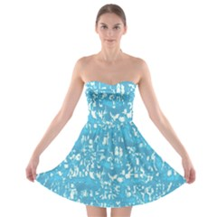 Glossy Abstract Ocean Strapless Bra Top Dress