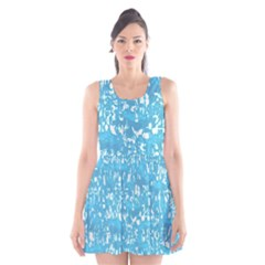 Glossy Abstract Ocean Scoop Neck Skater Dress
