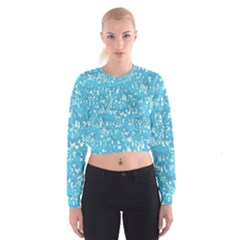 Glossy Abstract Ocean Cropped Sweatshirt
