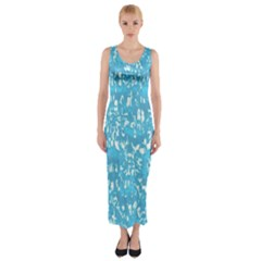 Glossy Abstract Ocean Fitted Maxi Dress