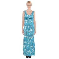 Glossy Abstract Ocean Maxi Thigh Split Dress