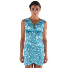 Glossy Abstract Ocean Wrap Front Bodycon Dress