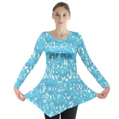 Glossy Abstract Ocean Long Sleeve Tunic
