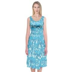 Glossy Abstract Ocean Midi Sleeveless Dress