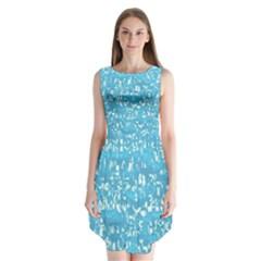 Glossy Abstract Ocean Sleeveless Chiffon Dress