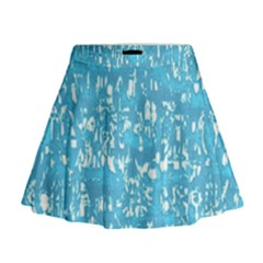 Glossy Abstract Ocean Mini Flare Skirt