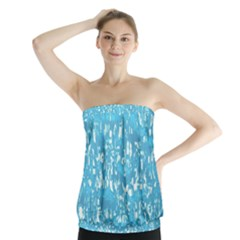 Glossy Abstract Ocean Strapless Top