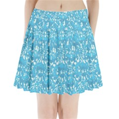 Glossy Abstract Ocean Pleated Mini Skirt