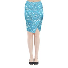 Glossy Abstract Ocean Midi Wrap Pencil Skirt