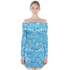 Glossy Abstract Ocean Long Sleeve Off Shoulder Dress