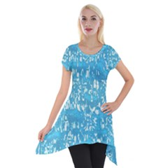 Glossy Abstract Ocean Short Sleeve Side Drop Tunic
