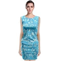 Glossy Abstract Ocean Sleeveless Velvet Midi Dress