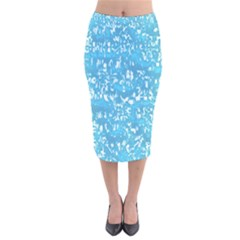 Glossy Abstract Ocean Velvet Midi Pencil Skirt