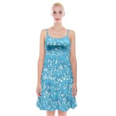 Glossy Abstract Ocean Spaghetti Strap Velvet Dress