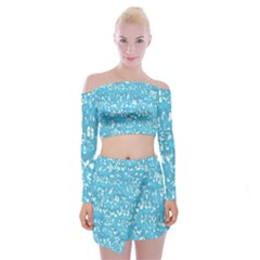 Glossy Abstract Ocean Off Shoulder Top with Skirt Set