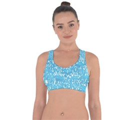 Glossy Abstract Ocean Cross String Back Sports Bra