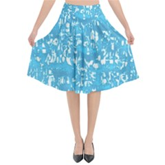 Glossy Abstract Ocean Flared Midi Skirt
