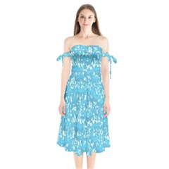 Glossy Abstract Ocean Shoulder Tie Bardot Midi Dress