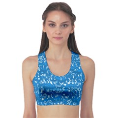 Glossy Abstract Teal Sports Bra