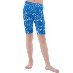 Glossy Abstract Teal Kids  Mid Length Swim Shorts