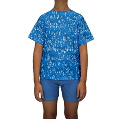 Glossy Abstract Teal Kids  Short Sleeve Swimwear