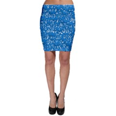 Glossy Abstract Teal Bodycon Skirt