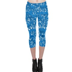 Glossy Abstract Teal Capri Leggings