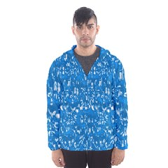 Glossy Abstract Teal Hooded Wind Breaker (Men)