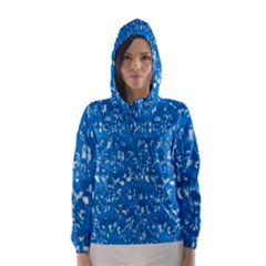 Glossy Abstract Teal Hooded Wind Breaker (Women)