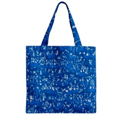 Glossy Abstract Teal Zipper Grocery Tote Bag