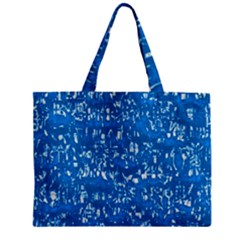 Glossy Abstract Teal Zipper Mini Tote Bag