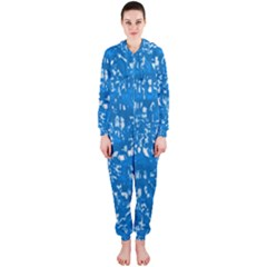 Glossy Abstract Teal Hooded Jumpsuit (Ladies)