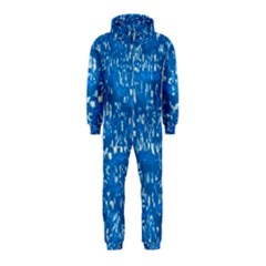 Glossy Abstract Teal Hooded Jumpsuit (Kids)