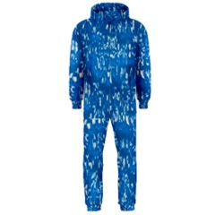 Glossy Abstract Teal Hooded Jumpsuit (Men)