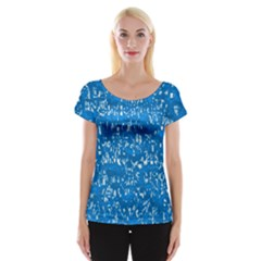 Glossy Abstract Teal Cap Sleeve Tops