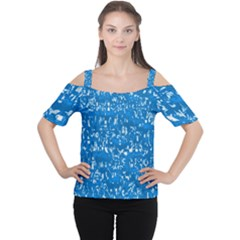 Glossy Abstract Teal Women s Cutout Shoulder Tee