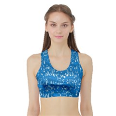 Glossy Abstract Teal Sports Bra with Border
