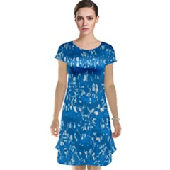 Glossy Abstract Teal Cap Sleeve Nightdress