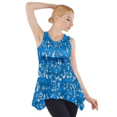 Glossy Abstract Teal Side Drop Tank Tunic