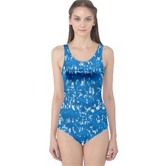 Glossy Abstract Teal One Piece Swimsuit
