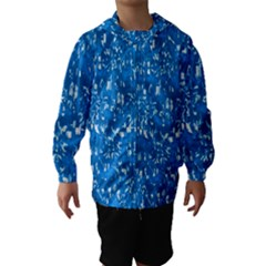 Glossy Abstract Teal Hooded Wind Breaker (Kids)