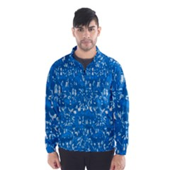 Glossy Abstract Teal Wind Breaker (Men)